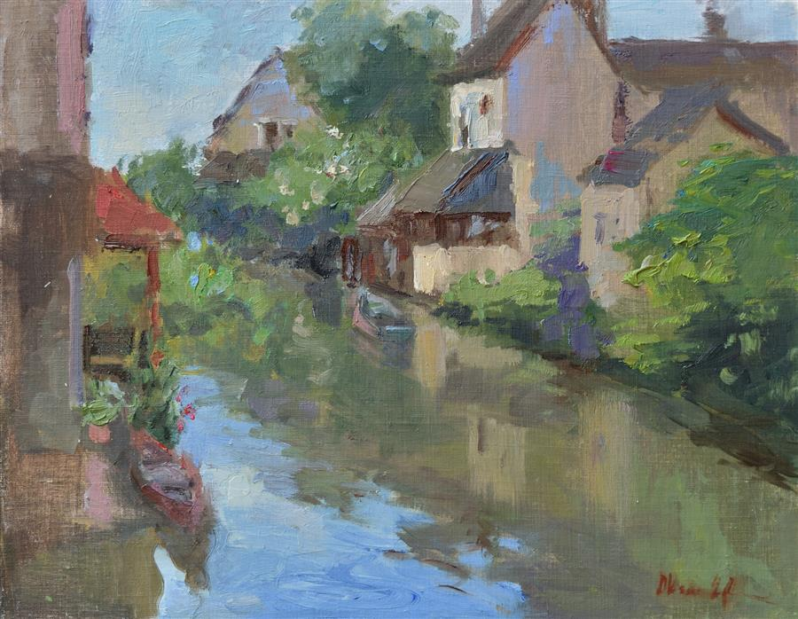 Original art for sale at UGallery.com | Morning in Chartres by OKSANA JOHNSON | $700 |  | 11' h x 14' w | ..\art\oil-painting-Morning-in-Chartres