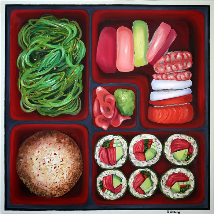 Original art for sale at UGallery.com | Sushi Bento Box by JJ Galloway | $2,100 | oil painting | 36' h x 36' w | ..\art\oil-painting-Sushi-Bento-Box