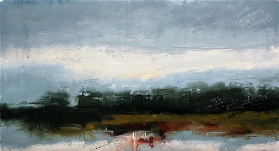 Original art for sale at UGallery.com | Towards Robinson, Trees by Ronda Waiksnis | $1,325 | oil painting | 27' h x 49' w | ..\art\oil-painting-Towards-Robinson-Trees