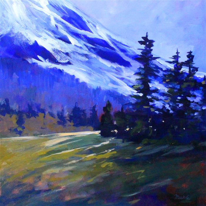 Original art for sale at UGallery.com | Foot of the Mountain by Nancy Merkle | $875 | acrylic painting | 24' h x 24' w | ..\art\acrylic-painting-Foot-of-the-Mountain-61931