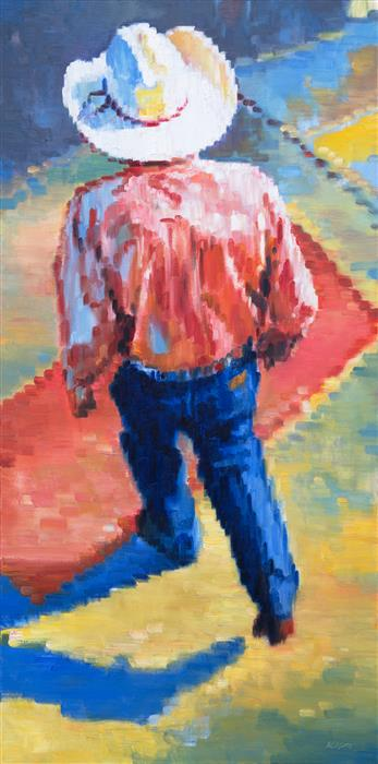 Original art for sale at UGallery.com | Cowboy Walking in Santa Fe Sunset by WARREN KEATING | $3,325 |  | 48' h x 24' w | ..\art\oil-painting-Cowboy-Walking-in-Santa-Fe-Sunset