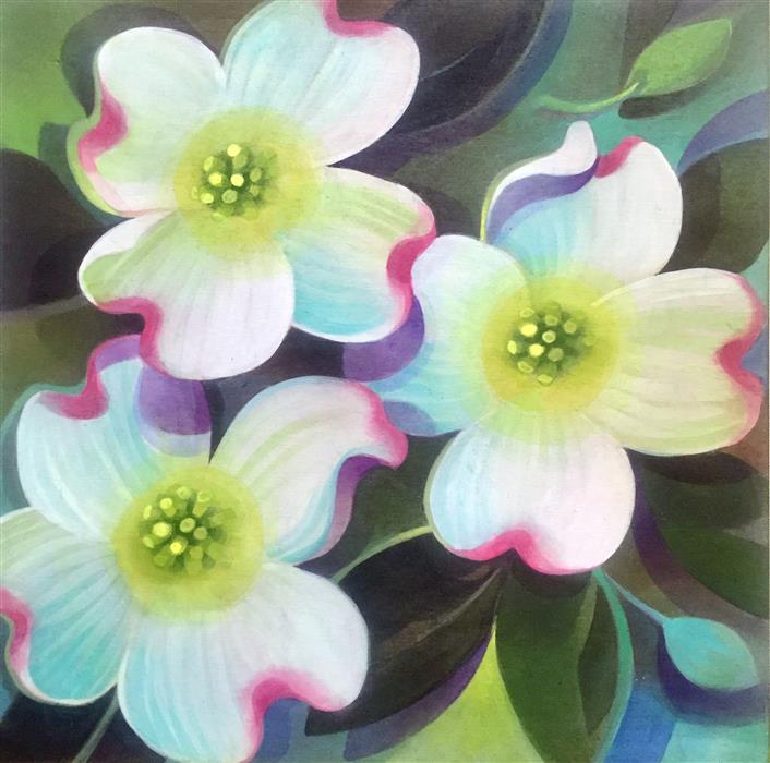 Original art for sale at UGallery.com | Dogwood Blossoms by JOHNNY KARWAN | $525 |  | 12' h x 12' w | ..\art\acrylic-painting-Dogwood-Blossoms