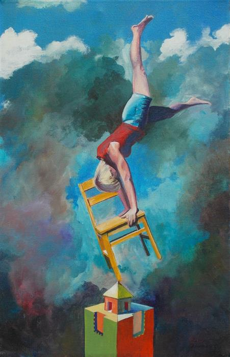 Original art for sale at UGallery.com | Anima and Her Chair by Benjamin  Thomas | $925 | acrylic painting | 20' h x 13' w | ..\art\acrylic-painting-Anima-and-Her-Chair