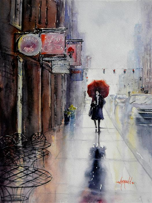 Original art for sale at UGallery.com | Red Umbrella by JUDY MUDD | $875 |  | 16' h x 12' w | ..\art\watercolor-painting-Red-Umbrella