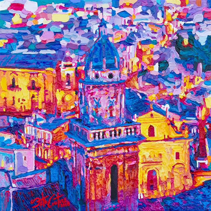 Original art for sale at UGallery.com | Santa Maria dell'Itria, Ragusa, Sicily by SETH COUTURE | $625 |  | 16' h x 16' w | ..\art\acrylic-painting-Santa-Maria-dell-Itria-Ragusa-Sicily