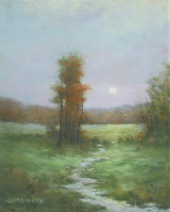 Original art for sale at UGallery.com | New England Moonrise by Gail Greene | $300 | oil painting | 10' h x 8' w | ..\art\oil-painting-New-England-Moonrise