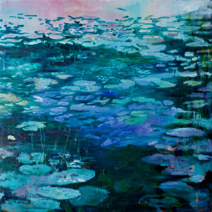 Original art for sale at UGallery.com | Hommage to Monet by Julia Hacker | $2,125 | oil painting | 31.5' h x 31.5' w | ..\art\oil-painting-Hommage-to-Monet