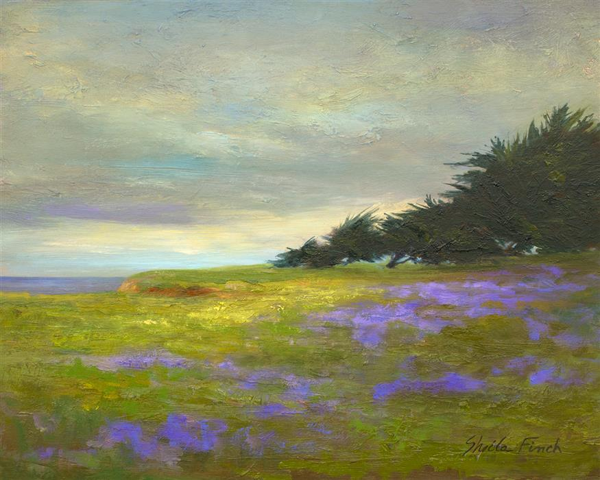 Original art for sale at UGallery.com | Coastal Bluffs by Sheila Finch | $700 | oil painting | 8' h x 10' w | ..\art\oil-painting-Coastal-Bluffs