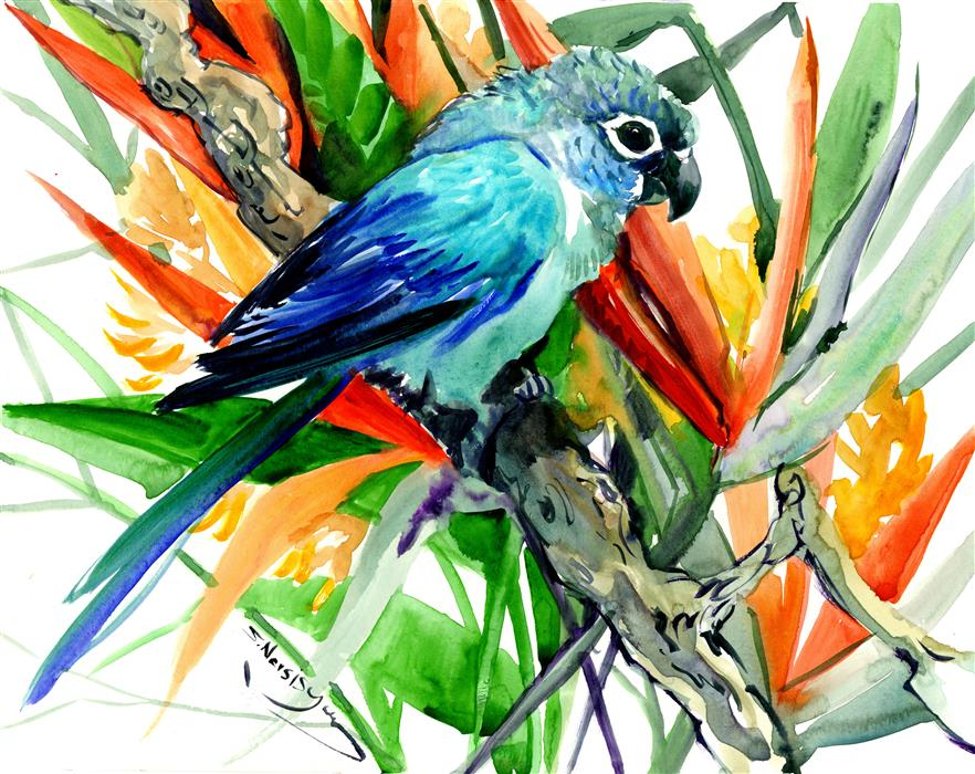Original art for sale at UGallery.com | Sun Conure and Paradise Flowers, Tropics by Suren Nersisyan | $275 | watercolor painting | 11' h x 14' w | ..\art\watercolor-painting-Sun-Conure-and-Paradise-Flowers-Tropics
