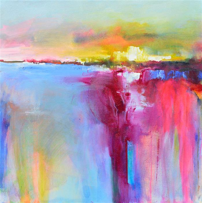 Original art for sale at UGallery.com | Landscape Abstraction - The Sun Rising by Patrick O'Boyle | $750 | acrylic painting | 24' h x 24' w | ..\art\acrylic-painting-Landscape-Abstraction-The-Sun-Rising
