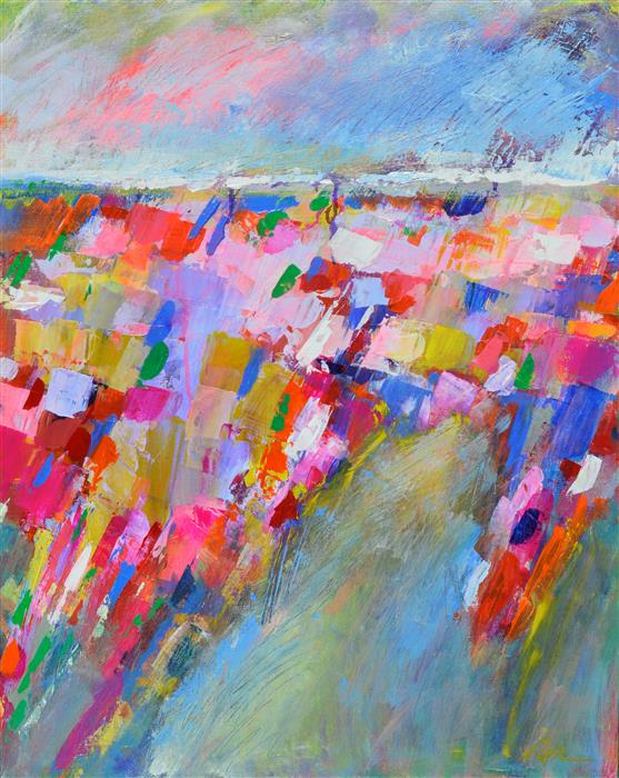 Original art for sale at UGallery.com | Landscape Abstraction - Color Towards The Horizon by Patrick O'Boyle | $825 | acrylic painting | 30' h x 24' w | ..\art\acrylic-painting-Landscape-Abstraction-Color-Towards-The-Horizon