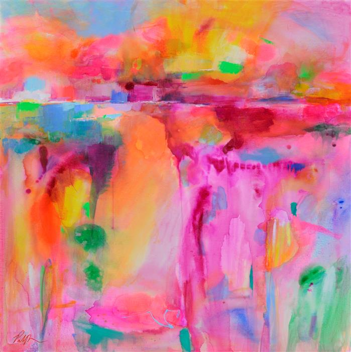 Original art for sale at UGallery.com | Landscape Abstraction with Color Washes by Patrick O'Boyle | $1,500 | acrylic painting | 36' h x 36' w | ..\art\acrylic-painting-Landscape-Abstraction-with-Color-Washes