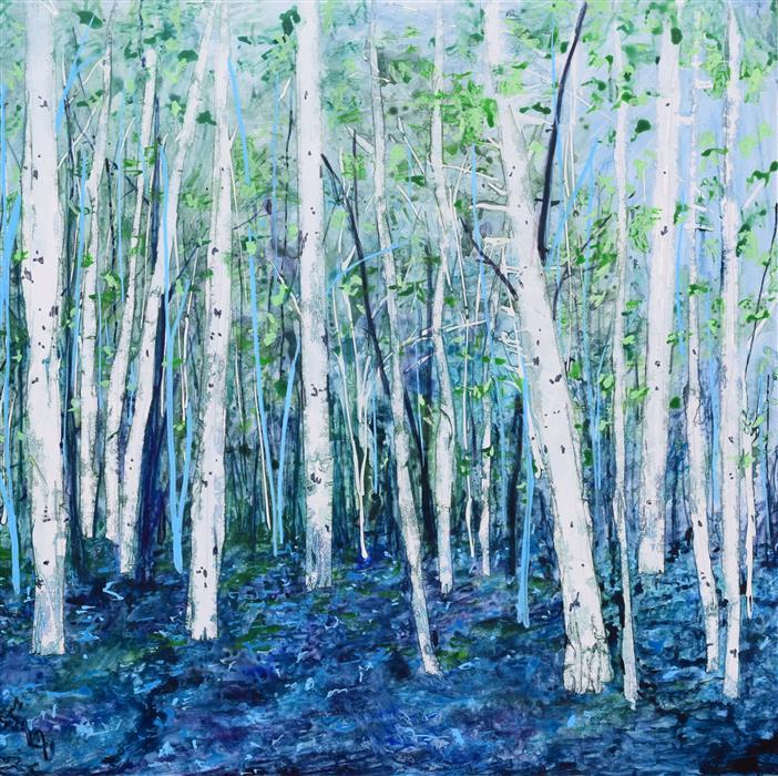 Original art for sale at UGallery.com | Uncertain Hour Part 2 by Tamara Gonda | $2,000 | mixed media artwork | 30' h x 30' w | ..\art\mixed-media-artwork-Uncertain-Hour-Part-2