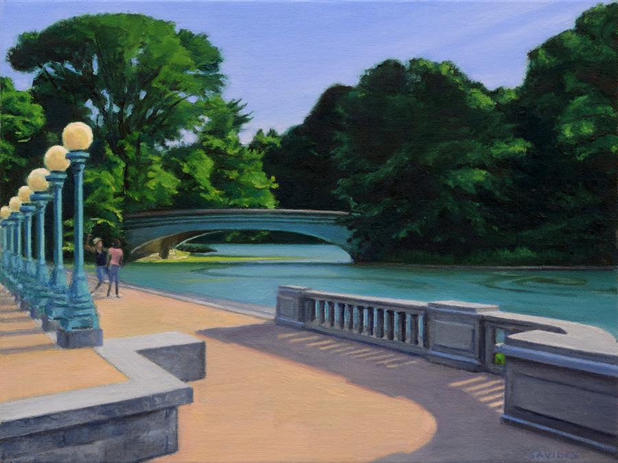 Original art for sale at UGallery.com | Lullwater Bridge – Prospect Park by Nick Savides | $875 | oil painting | 9' h x 12' w | ..\art\oil-painting-Lullwater-Bridge-Prospect-Park