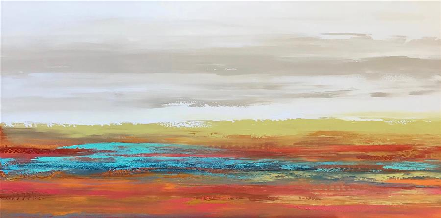 Original art for sale at UGallery.com | Waiting for the Sun by ALICIA DUNN | $1,725 |  | 24' h x 48' w | ..\art\acrylic-painting-Waiting-for-the-Sun-62166