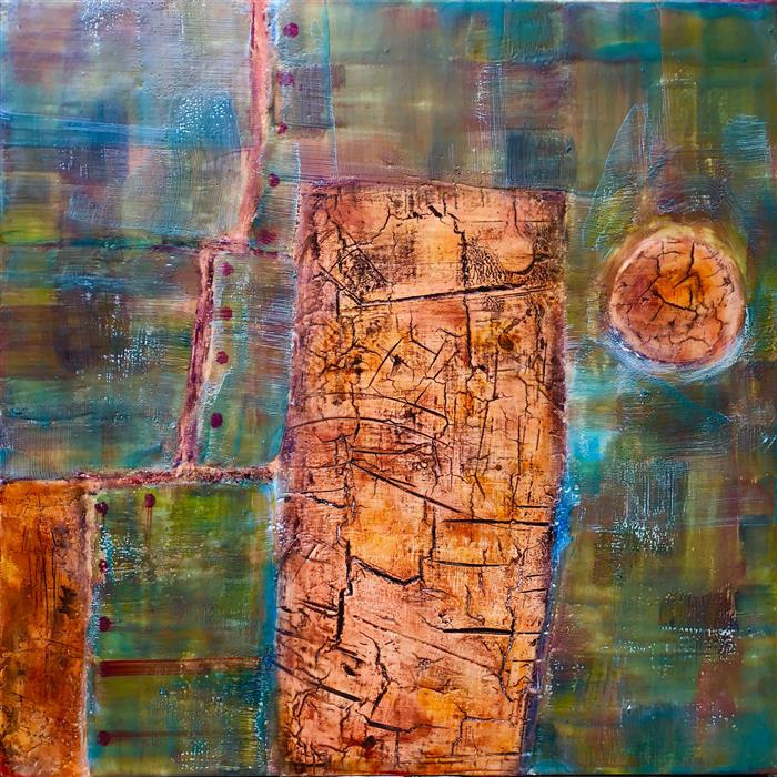 Original art for sale at UGallery.com | Stone Cold Silence by LISA BICK | $1,150 |  | 20' h x 20' w | ..\art\encaustic-artwork-Stone-Cold-Silence