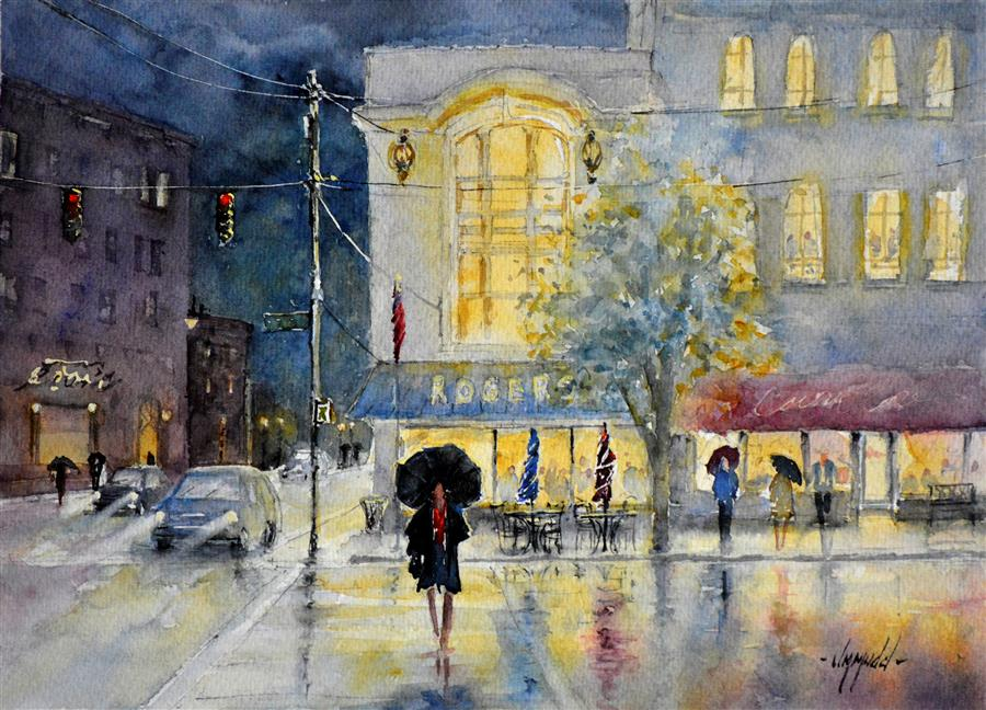 Original art for sale at UGallery.com | Rain on Madison by JUDY MUDD | $700 |  | 10.5' h x 14.5' w | ..\art\watercolor-painting-Rain-on-Madison