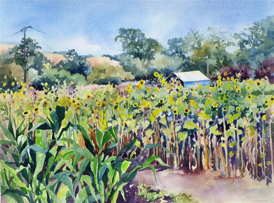 Original art for sale at UGallery.com | Girasoli nel Giardino by CATHERINE MCCARGAR | $575 |  | 12' h x 16' w | ..\art\watercolor-painting-Girasoli-nel-Giardino
