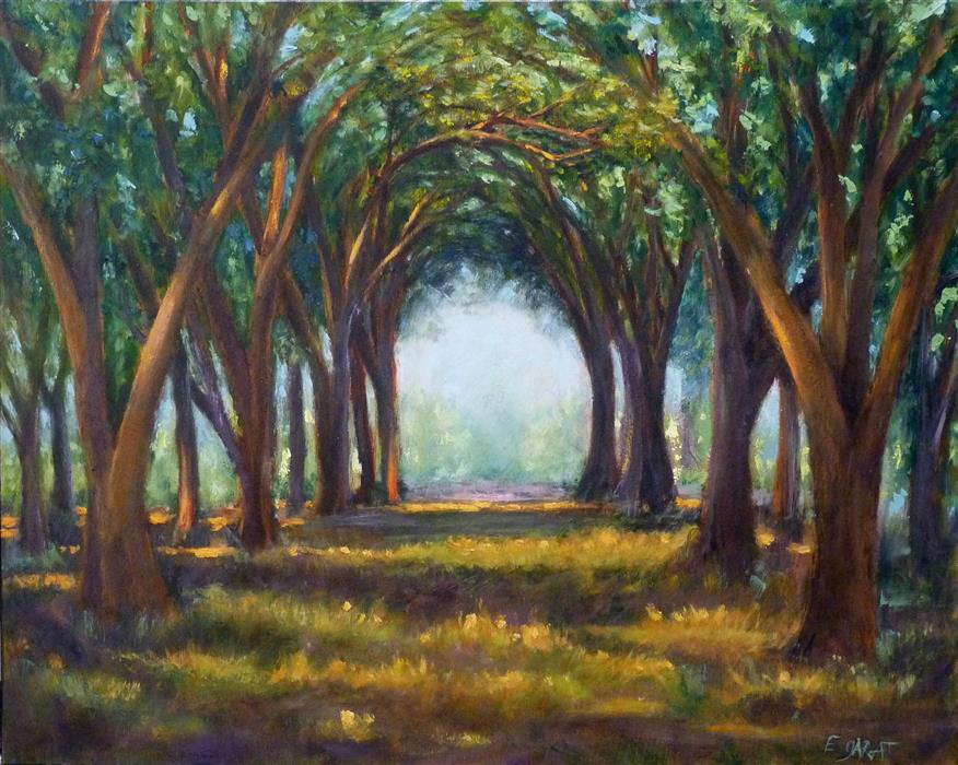 Original art for sale at UGallery.com | Morning Awakens the Grove by Elizabeth Garat | $800 | oil painting | 16' h x 20' w | ..\art\oil-painting-Morning-Awakens-the-Grove