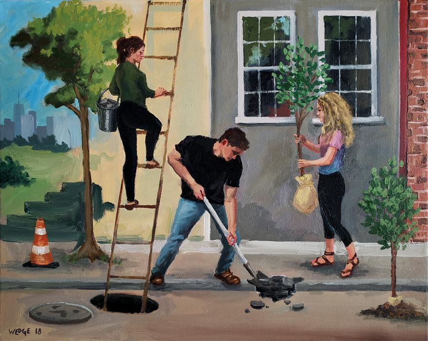 Original art for sale at UGallery.com | Transplanting by Michael Wedge | $600 | oil painting | 16' h x 20' w | ..\art\oil-painting-Transplanting