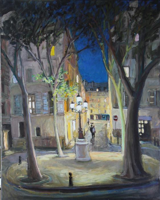Original art for sale at UGallery.com | Furstemberg in October by Bertrand Girard | $2,600 | acrylic painting | 39' h x 31' w | ..\art\acrylic-painting-Furstemberg-in-October
