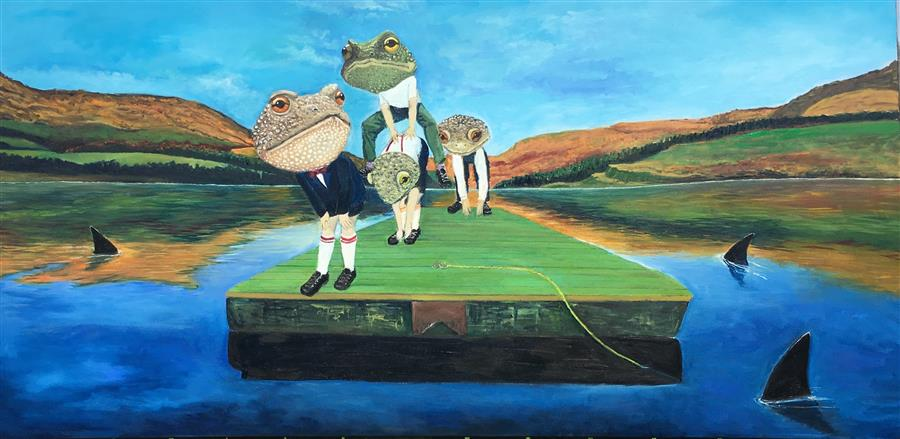 Original art for sale at UGallery.com | Hop, Skip and a Leap by KAT SILVER | $2,975 |  | 24' h x 48' w | ..\art\oil-painting-Hop-Skip-and-a-Leap