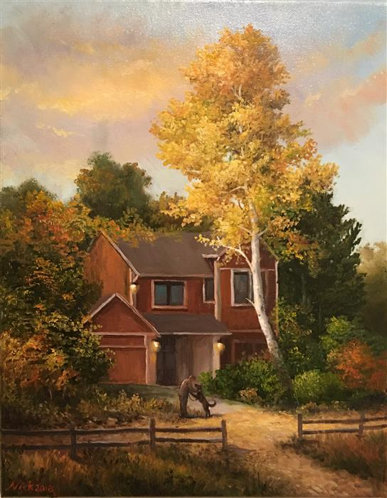 Original art for sale at UGallery.com | Autumn Evening by Nikolay Rizhankov | $725 | oil painting | 14' h x 11' w | ..\art\oil-painting-Autumn-Evening-62237
