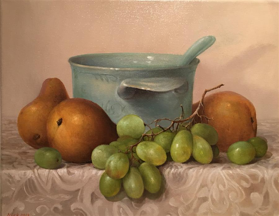 Original art for sale at UGallery.com | Grape and Pears by Nikolay Rizhankov | $725 | oil painting | 11' h x 14' w | ..\art\oil-painting-Grape-and-Pears