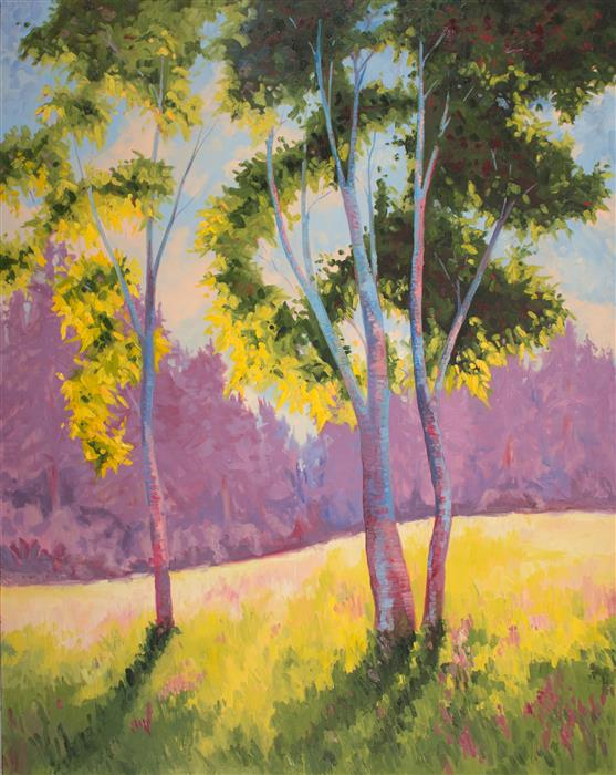 Original art for sale at UGallery.com | Aspen in Violet and Green by KAREN E LEWIS | $5,625 |  | 60' h x 48' w | ..\art\oil-painting-Aspen-in-Violet-and-Green