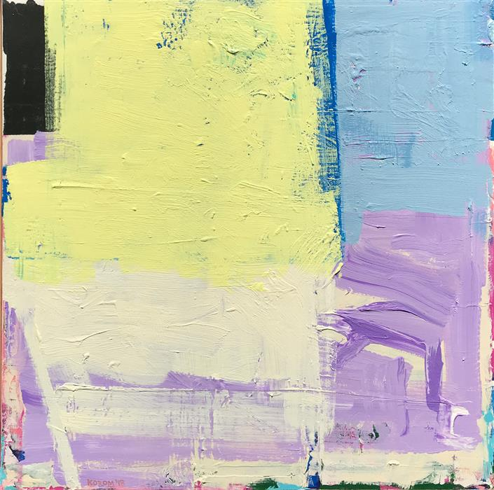Original art for sale at UGallery.com | Yellow and Blue Too by Joey Korom | $1,200 | acrylic painting | 30' h x 30' w | ..\art\acrylic-painting-Yellow-and-Blue-Too