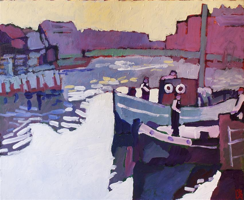 Original art for sale at UGallery.com | Dockside Morning by ROBERT HOFHERR | $925 |  | 22' h x 28' w | ..\art\acrylic-painting-Dockside-Morning