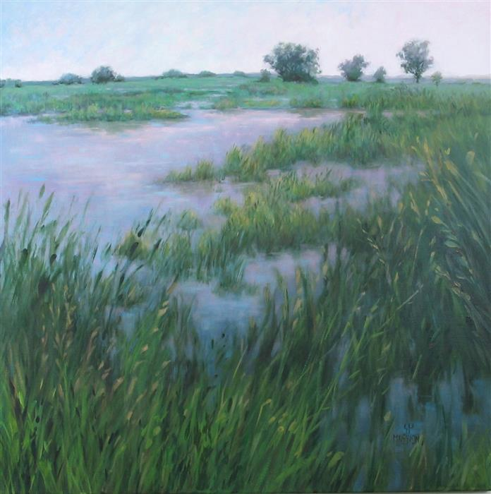 Original art for sale at UGallery.com | Lake In The Prairie by Suzanne Massion | $1,100 | oil painting | 30' h x 30' w | ..\art\oil-painting-Lake-In-The-Prairie