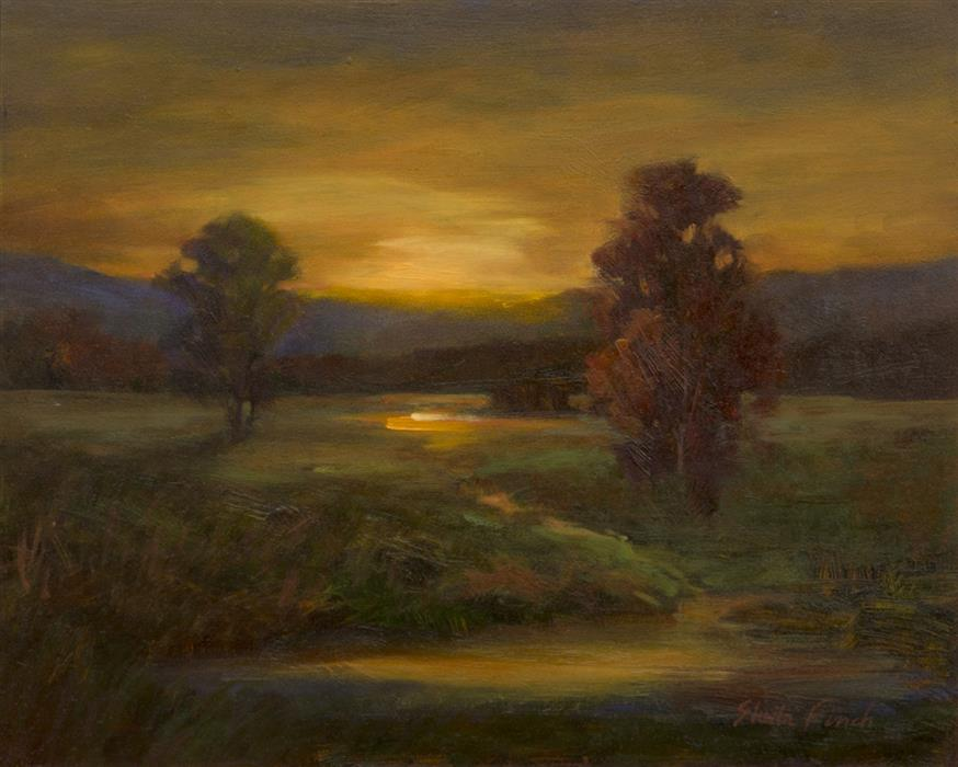 Original art for sale at UGallery.com | Nocturnes - Evening Glow by SHEILA FINCH | $700 |  | 8' h x 10' w | ..\art\oil-painting-Nocturnes-Evening-Glow