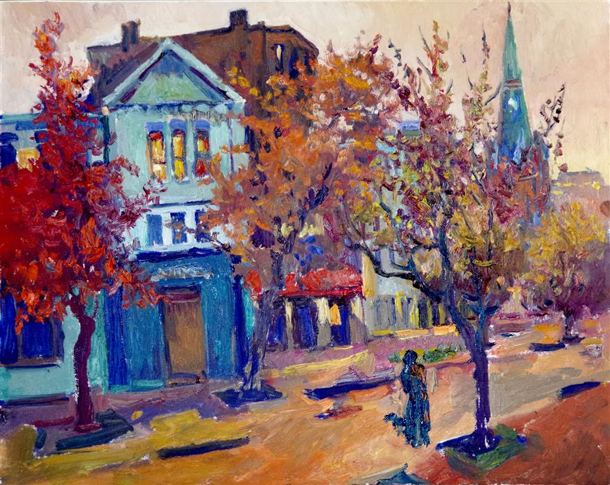 Original art for sale at UGallery.com | Washington DC, Fall Evening by Suren Nersisyan | $625 | oil painting | 16' h x 20' w | ..\art\oil-painting-Washington-DC-Fall-Evening