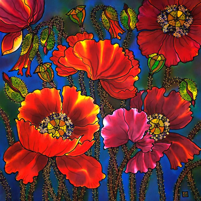 Original art for sale at UGallery.com | Poppies 2 by Yelena Sidorova | $1,100 | mixed media artwork | 24' h x 24' w | ..\art\mixed-media-artwork-Poppies-2