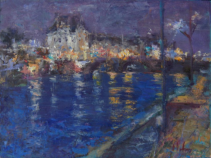 Original art for sale at UGallery.com | Night Stroll by the Seine by OKSANA JOHNSON | $350 |  | 6' h x 8' w | ..\art\oil-painting-Night-Stroll-by-the-Seine