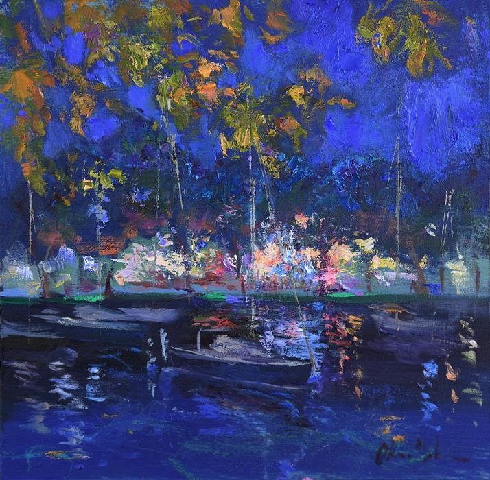 Original art for sale at UGallery.com | Night at Lake Como by OKSANA JOHNSON | $375 |  | 8' h x 8' w | ..\art\oil-painting-Night-at-Lake-Como