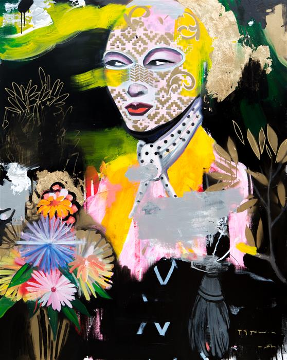 Original art for sale at UGallery.com | Beautifully Disguised (With Flowers) by Scott Dykema | $6,950 | mixed media artwork | 60' h x 48' w | ..\art\mixed-media-artwork-Beautifully-Disguised-With-Flowers