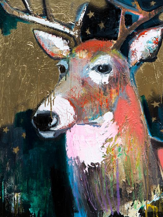 Original art for sale at UGallery.com | A Deer on Gold by Scott Dykema | $2,975 | mixed media artwork | 40' h x 30' w | ..\art\mixed-media-artwork-A-Deer-on-Gold