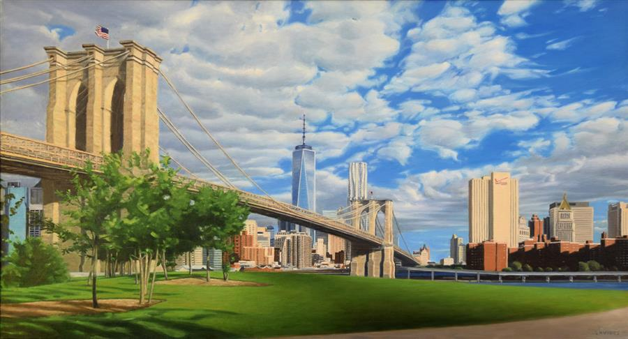 Original art for sale at UGallery.com | Brooklyn Bridge Park by Nick Savides | $6,100 | oil painting | 26' h x 48' w | ..\art\oil-painting-Brooklyn-Bridge-Park