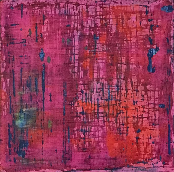 Original art for sale at UGallery.com | In the Pink by Quin de la Mer | $1,050 | mixed media artwork | 20' h x 20' w | ..\art\mixed-media-artwork-In-the-Pink