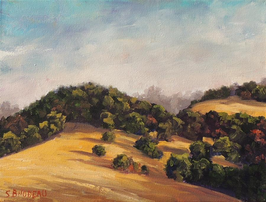 Original art for sale at UGallery.com | Gentle Hills by Steven Guy Bilodeau | $450 | oil painting | 9' h x 12' w | ..\art\oil-painting-Gentle-Hills