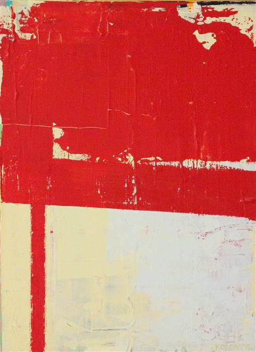 Original art for sale at UGallery.com | Torn Red by JOEY KOROM | $625 |  | 24' h x 18' w | ..\art\acrylic-painting-Torn-Red