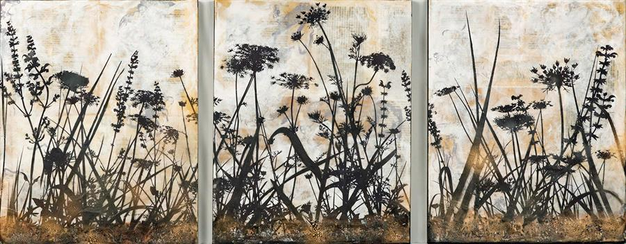 Original art for sale at UGallery.com | Among the Wildflowers by SHANNON AMIDON | $2,725 |  | 20' h x 48' w | ..\art\encaustic-artwork-Among-the-Wildflowers