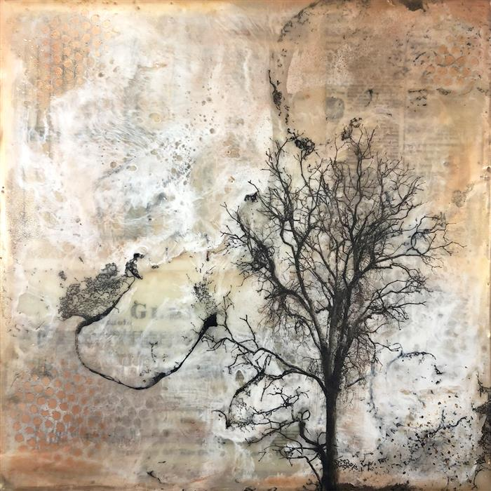 Original art for sale at UGallery.com | In the Distance by SHANNON AMIDON | $525 |  | 12' h x 12' w | ..\art\encaustic-artwork-In-the-Distance