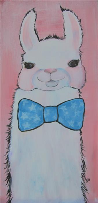 Original art for sale at UGallery.com | Dapper Llama by ANDREA DOSS | $500 |  | 24' h x 12' w | ..\art\acrylic-painting-Dapper-Llama