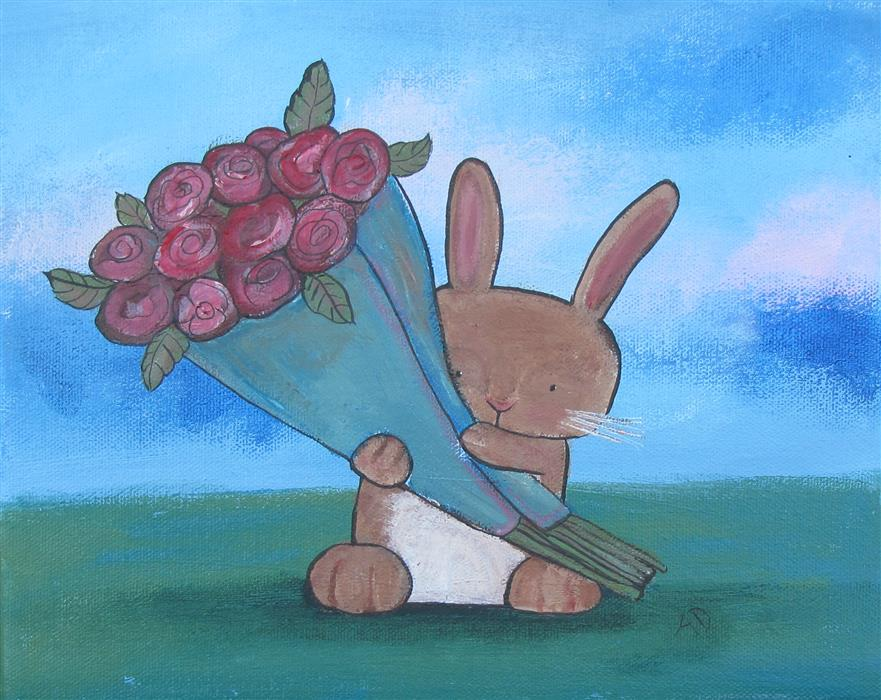Original art for sale at UGallery.com | Somebunny Loves You by ANDREA DOSS | $275 |  | 8' h x 10' w | ..\art\acrylic-painting-Somebunny-Loves-You