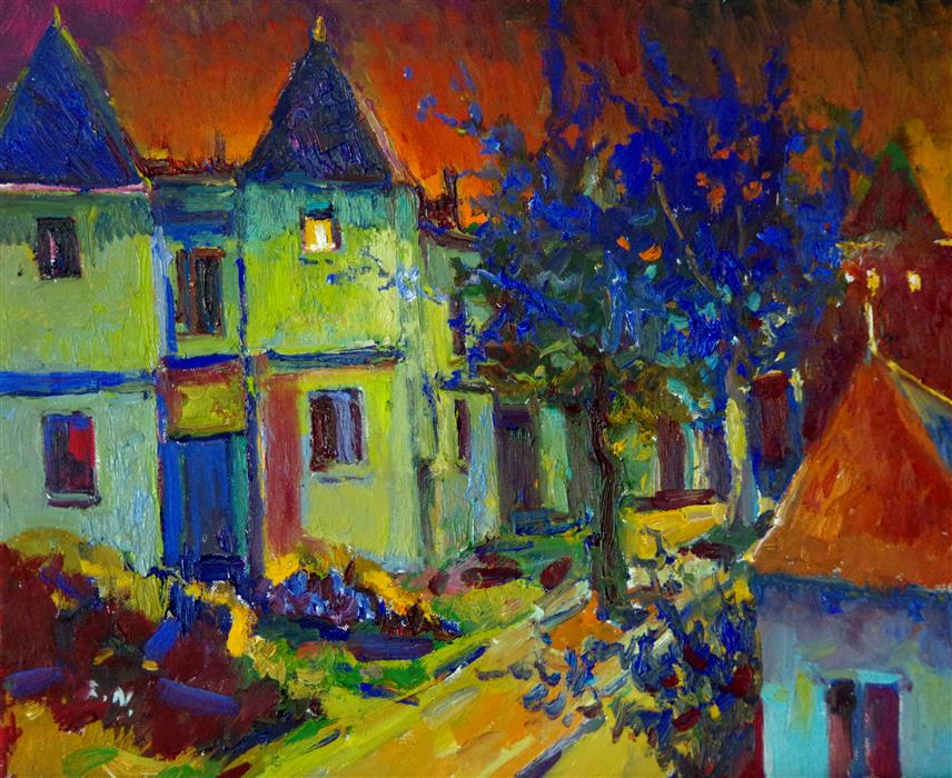 Original art for sale at UGallery.com | Colors of Midnight, Houses in Washington DC by Suren Nersisyan | $575 | oil painting | 16' h x 20' w | ..\art\oil-painting-Colors-of-Midnight-Houses-in-Washington-DC