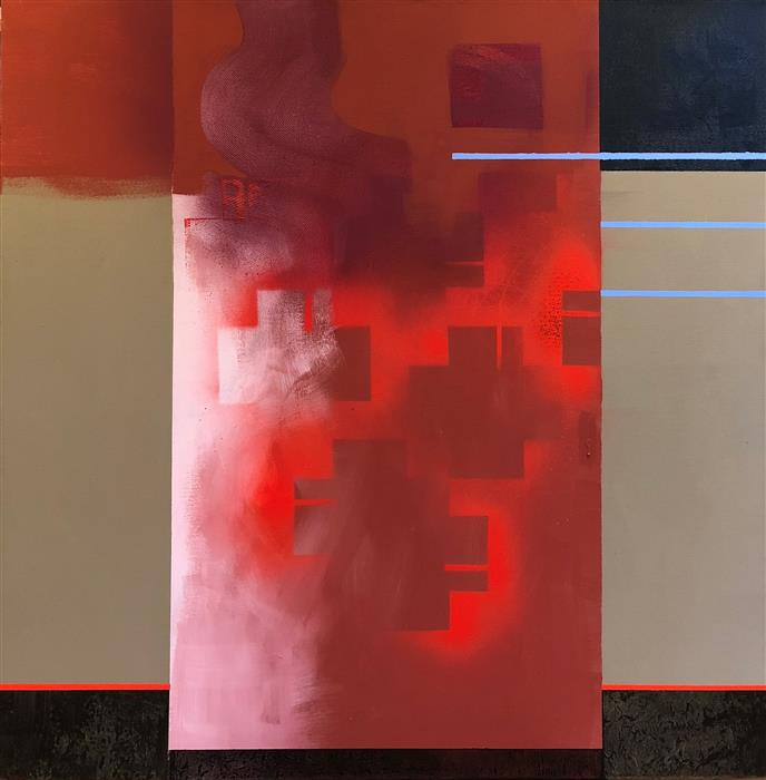 Original art for sale at UGallery.com | Blue On Red by Janine Etherington | $1,500 | acrylic painting | 36' h x 36' w | ..\art\acrylic-painting-Blue-On-Red