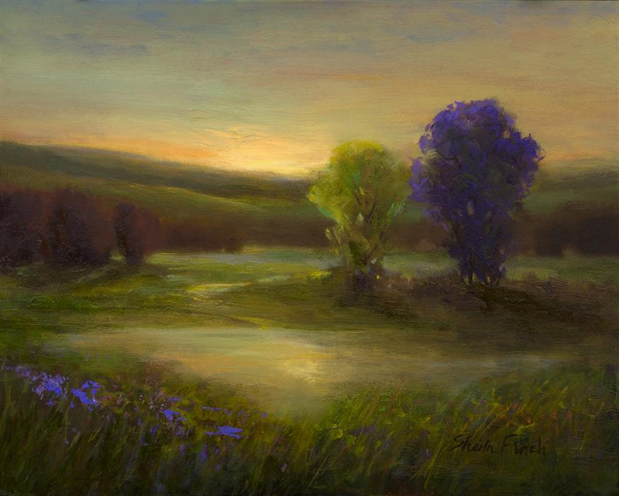 Original art for sale at UGallery.com | Nocturnes - Amber by Sheila Finch | $700 | oil painting | 8' h x 10' w | ..\art\oil-painting-Nocturnes-Amber